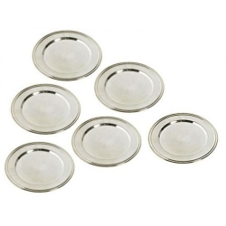 SOTTOBICCHIERE RIGHE SET 6 PZ SILVER PLATE