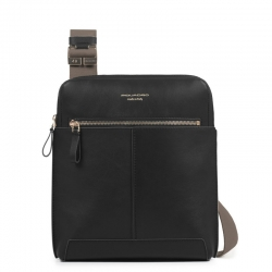 Borsello porta ipad in pelle nero archimede