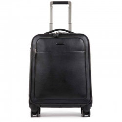 Trolley cabin slim in pelle 4 ruote nero modus